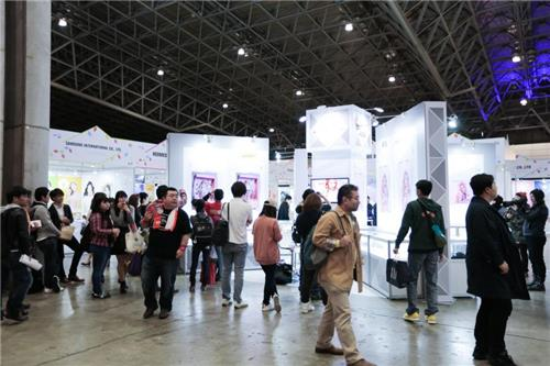 Hall 6 of Makuhari Messe in Chiba, east of Tokyo, where South Korean small and medium-sized enterprises (SMEs) displayed goods, in a photo released by CJ E&M. (Yonhap)