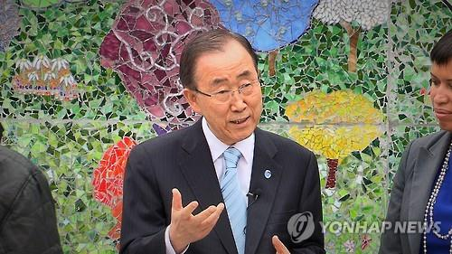This file photo from May 5, 2016, shows U.N. Secretary-General Ban Ki-moon speaking to reporters at a school in Washington D.C. (Yonhap)