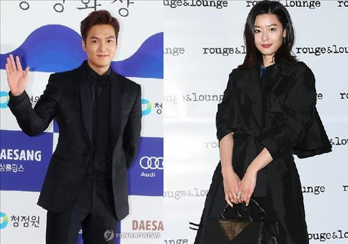 South Korean stars Lee Min-ho (L) and Jun Ji-hyun (R) (Yonhap)
