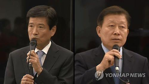This undated file photo shows two of Daewoo Shipbuilding's CEOs -- Nam Sang-tae (L) and Ko Jae-ho -- who face a probe over mismanagement in the financially troubled world's No. 2 shipbuilder. (Yonhap)