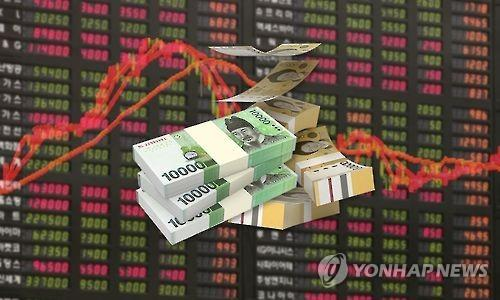 This graphic image shows a pile of bank notes and red line graphs that represents ups and downs of local stocks. (Yonhap)