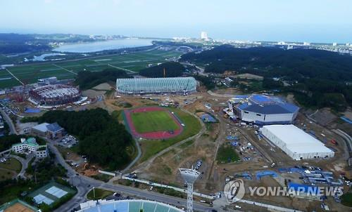 In this file photo taken on June 22, 2016, the 2018 Winter Games facilities in Gangneung, Gangwon Province, are under construction. (Yonhap)