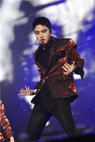 "D.O. of South Korean boy group EXO performs in the group's Seoul concert ""EXO Planet #3 - The EXO'rDIUM"" at Olympic Park stadium, southeastern Seoul, on July 24, 2016. (Yonhap)"