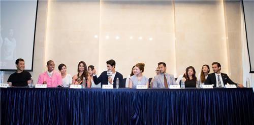 """The cast of """"Babel 250"""" hold a press conference promoting their show at a hotel in western Seoul on July 25, 2016. (Yonhap)"""