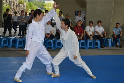 In this photo provided by the World Martial Arts Masterships organizing committee, South Korean martial arts practitioners perform taekkyeon during a promotional event for the 2016 Cheongju World Martial Arts Masterships in Sejong on July 25, 2016. (Yonhap)