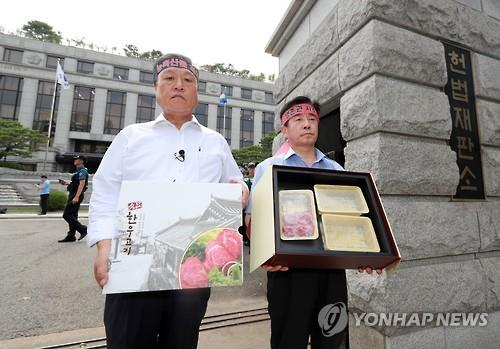 Members of a local agricultural association hold a protest in front of the Constitutional Court in Seoul on July 28, 2016. The court ruled constitutional the so-called Kim Young-ran law, named after its proposer, on the same day. The law makes it illegal to accept meals exceeding 30,000 won, presents in excess of 50,000 won and congratulatory or condolence money totaling over 100,000 won. (Yonhap)