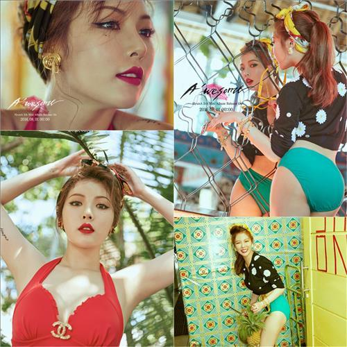 """The promotional photos for HyunA's fifth and latest EP """"A'wesome,"""" released by Cube Entertainment. (Yonhap)"""