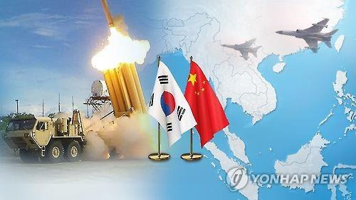 This graphic, provided by Yonhap News TV, shows the national flags of South Korea and China, along with a missile defense system. (Yonhap)