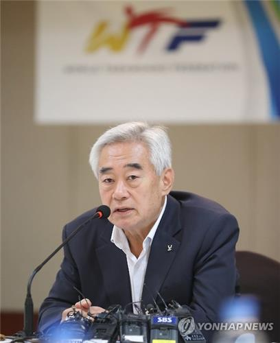 In this file photo taken on July 25, 2016, Choue Chung-won, president of the World Taekwondo Federation, speaks at a press conference in Seoul. (Yonhap)