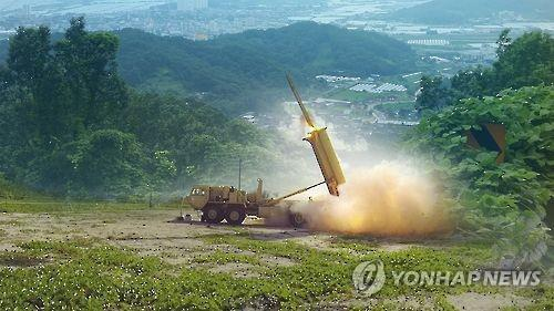 This photo shows a THAAD interceptor being fired from its launcher. (Yonhap)