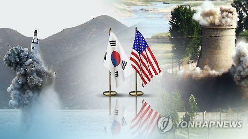 This undated Yonhap News TV image shows a submarine launched ballistic missile (SLBM) and the scene of a North Korean nuclear facility being destroyed, with flags of South Korea and the U.S. placed between the two images. (Yonhap)