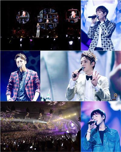 Jang Keun-suk performs during his recent Asia tour in this compilation of photos provided by his management agency Tree J Company. (Yonhap)