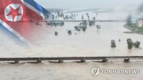 This computer-generated image, provided by Yonhap News TV, shows recent floods in North Korea. (Yonhap)