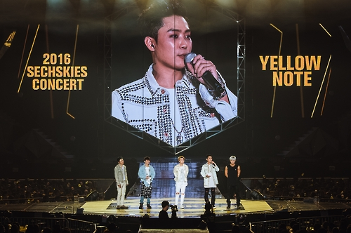 """South Korean boy band Sechs Kies performs in a comeback concert 'Yellow Note"""" held in southeastern Seoul on Sept. 11, 2016. This photo was provided by the YG Entertainment."""