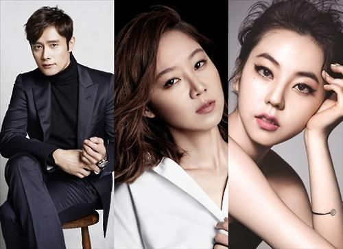 "This compiled photo shows the cast of the Warner's upcoming Korean-language film ""A Single Rider."" From left: Lee Byung-hun, Kong Hyo-jin and Ahn So-hee, a former member of K-pop girl group Wonder Girls. (Yonhap)"
