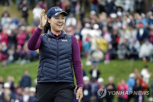 Chun In-gee of South Korea celebrates after winning the Evian Championship on the LPGA Tour in Evian-les-Bains, France, in this Associated Press photo on Sept. 18, 2016. (Yonhap)