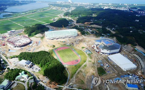 Construction work is underway at Gangneung Olympic Park on Aug. 22, 2016, in Gangneung, Gangwon Province. (Yonhap)
