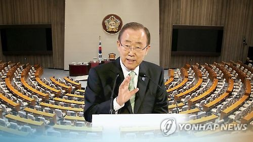 This graphic, provided by Yonhap News TV, shows U.N. Secretary-General Ban Ki-moon against a backdrop of the main chamber of South Korea's National Assembly in Seoul. (Yonhap)