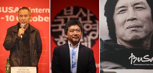 From left: Directors Hou Hsiao-hsien of Taiwan, Hirokazu Koreeda of Japan and Lee Chang-dong of South Korea (Yonhap)