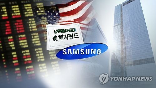 Images of Samsung's logo and headquarters, and U.S. hedge fund Elliott's logo (Yonhap file photo)