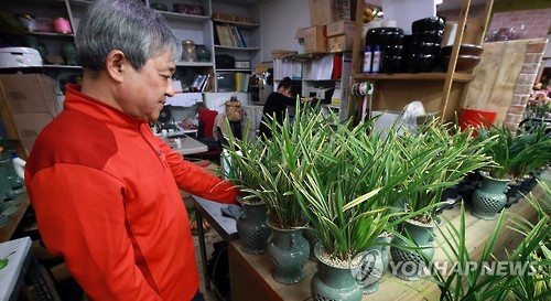 An owner of a plant store in southern Seoul looks over orchids on Oct. 12, 2016. His shop's sales have nosedived due to the anti-graft law that went into force late last month. (Yonhap)