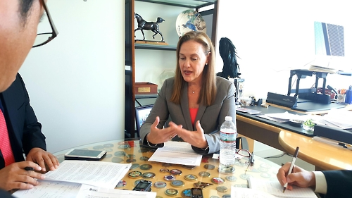 Former U.S. Under Secretary of Defense Michele Flournoy speaks during an interview with Yonhap News Agency in her office at the Center for a New American Security in Washington on Oct. 13. (Yonhap)