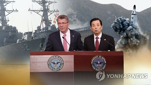 This undated captured image from Yonhap News TV shows South Korea's Defense Minister Han Min-koo (R) and U.S. Defense Secretary Ash Carter in a press briefing on their agreements in the annual Security Consultative Meeting (SCM) held in Washington on Thursday. (Yonhap)