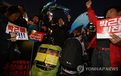 South Korean protesters take to streets against President Park again