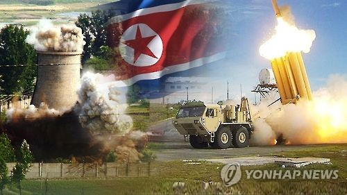 This undated captured image from Yonhap News TV shows from left to right a nuclear facility in North Korea the North Korean flag and the U.S. THAAD advanced missile defense system