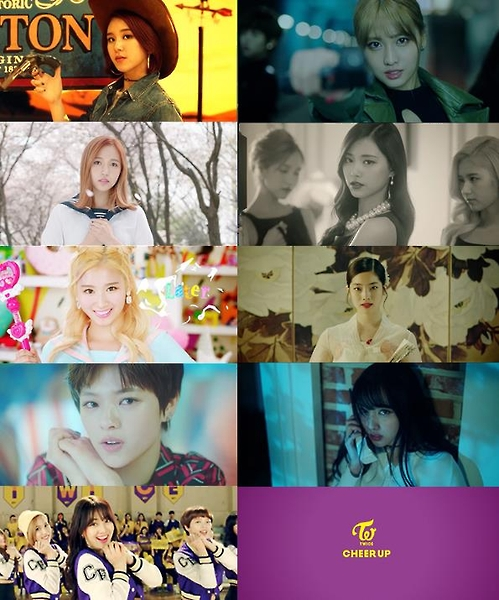"""Stills from South Korean girl group TWICE's music video of its second EP """"Cheer Up."""" (Yonhap)"""