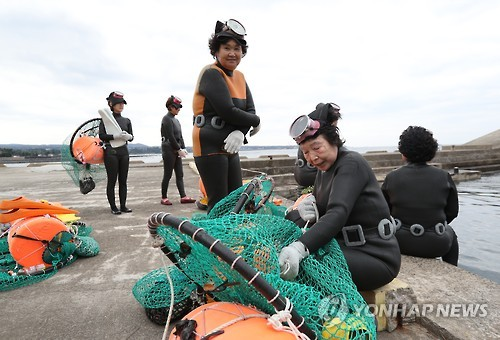 """A """"haenyeo,"""" or female diver, mends her fishing net at a port in the city of Seogwipo on South Korea's largest island of Jeju on Nov. 25, 2016. (Yonhap)"""
