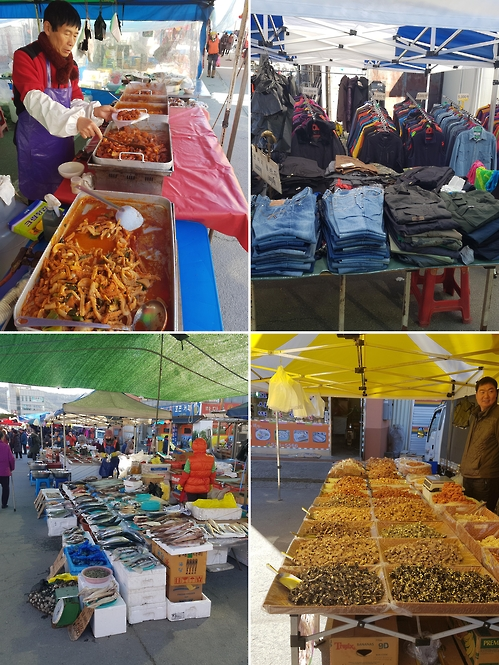 Kim Yoon-ho (in top left photo) says the Byeongcheon five-day market has seen its fame and size steadily dwindle, but that it continues to offer the only place to shop for many who live in the once remote town of Byeongcheon and its surrounding areas. (Yonhap)
