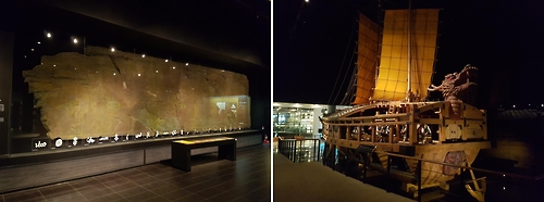 "The photos show a life-size replica of ancient mural paintings (L) and a scaled replica of ""Geobukseon"" or turtle ship on display in one of seven exhibition halls at the Independence Hall of Korea in Mokcheon, South Korea. (Yonhap)"