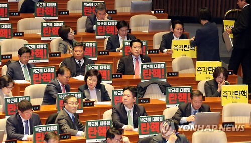 This photo, taken on Dec. 8, 2016, shows lawmakers from the splinter People's Party holding or displaying signs at the National Assembly demanding the impeachment of President Park Geun-hye. (Yonhap)