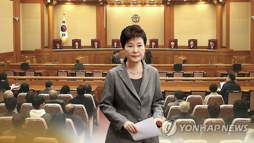 This image, provided by Yonhap News TV, shows President Park Geun-hye and the Constitutional Court in Seoul. (Yonhap)