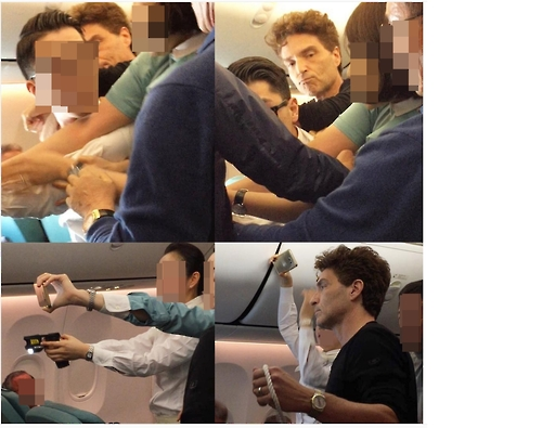 This combined photo, taken from the photo and video sharing website Instagram on Dec. 21, 2016, shows American pop singer Richard Marx helping overpower an unruly man with other passengers and flight attendants. (Yonhap)