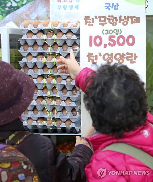 Housewives look at eggs at a supermarket in Seoul on Jan. 3, 2017. (Yonhap)