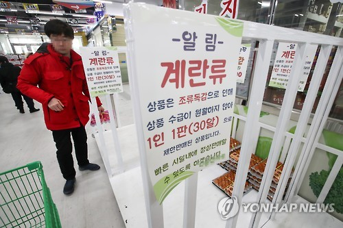 A shopper appears perplexed in front of a near-empty egg shelf at a supermarket in Seoul on Jan. 3, 2017. (Yonhap)