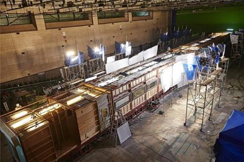 "This photo provided by Next Entertainment World, the local distributor of the Korean film ""Train to Busan,"" shows the KTX bullet train set installed at Busan Cinema Studios in Busan. (Yonhap)"