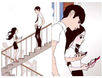 "This captured image is from the webtoon series ""Love Alarm"" written by graphic novelist Chon Kye-young. (Yonhap)"