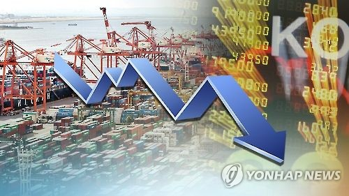 This graphic image from Yonhap news TV refers to South Korea's slowing GDP growth. (Yonhap)