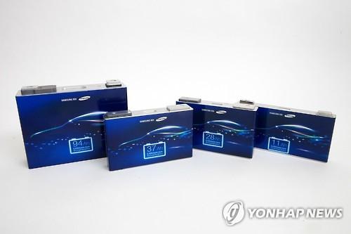 Samsung SDI's electric car batteries (Photo courtesy of Samsung SDI) (Yonhap)