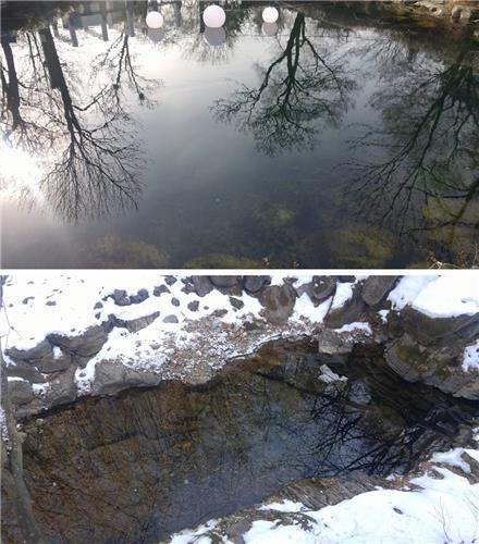 These photos, taken on Jan. 17, 2017, show Hwangji Pond (top) and Geomryongso. (Yonhap)