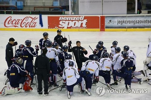 In this undated photo provided by the Korea Ice Hockey Association, South Korean men's national hockey team players huddle around head coach Jim Paek (knelt in center, in black sweats). (Yonhap)