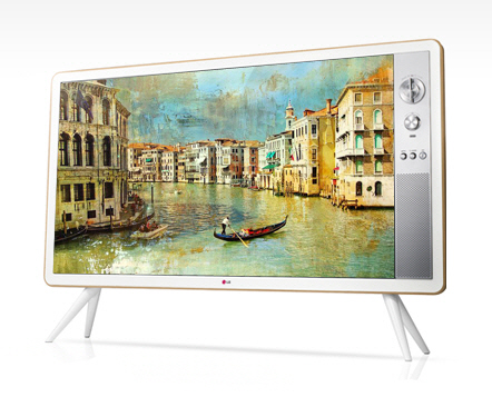 This image, provided by LG Electronics on Jan. 19, 2017, shows its 32-inch LED set featuring volume and channel dials, as well as a wooden frame. (Yonhap)