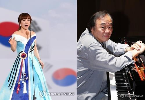 This file photo shows South Korean soprano Sumi Jo (L) and pianist Paik Kun-woo (Yonhap)