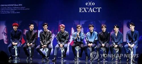 The file photo shows popular boy band EXO. (Yonhap)