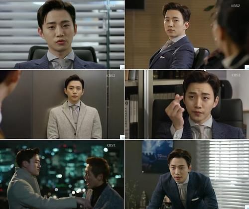 """This composite photo captured from KBS 2TV office comedy drama """"Chief Kim"""" shows Junho, member of idol group 2PM, acting as a prosecutor-turned-executive at a fictional company. (Yonhap)"""