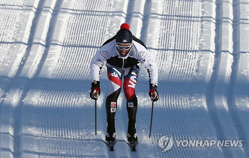 South Korea's Kim Magnus practices at Alpensia Cross-Country Skiing Centre in PyeongChang, Gangwon Province, on Feb. 2, 2017, one day ahead of the FIS Cross-Country World Cup. (Yonhap)