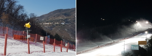 The photo on the left shows a snowmaker permanently stationed on a piste at Vivaldi Park ski resort in Hongcheon, South Korea. The photo on the right shows at least half a dozen snowmakers producing artificial snow on Feb. 12, 2017. (Yonhap)